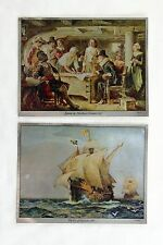 J.L.G. Ferris Mayflower Compact and Eve of Discovery Color Foil Etch Print Set