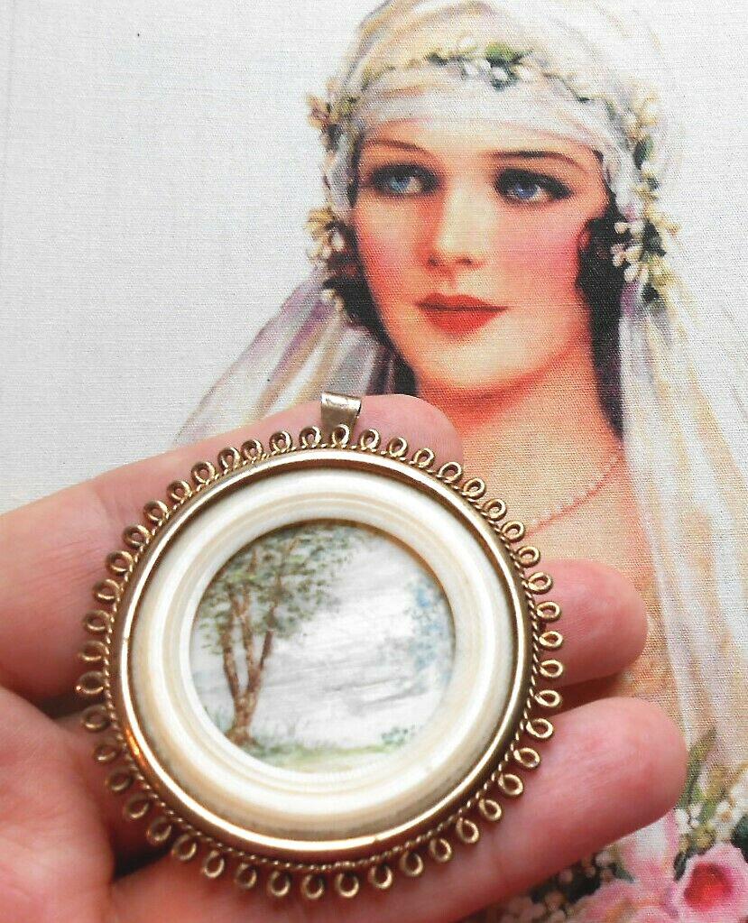 Splendide pendentif broche ancien Napoléon III or silver miniature ivoirine
