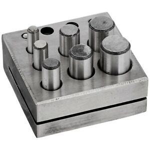 Round-Disc-Cutter-7-Punch-Set-Tool-Metal-Cutting-Square-Base-Jewelry-Jewele-A7J8