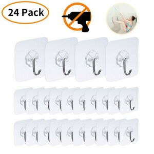 24-PACK-Adhesive-Utility-Hooks-Heavy-Duty-Wall-Transparent-Reusable-Waterproof