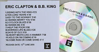 ERIC CLAPTON + B.B. KING CD Riding With The King 12 Track UK PROMO Acetate Rare
