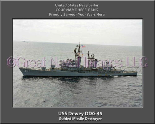 USS Dewey DDG 45 Personalized Canvas Ship Photo Print Navy Veteran Gift