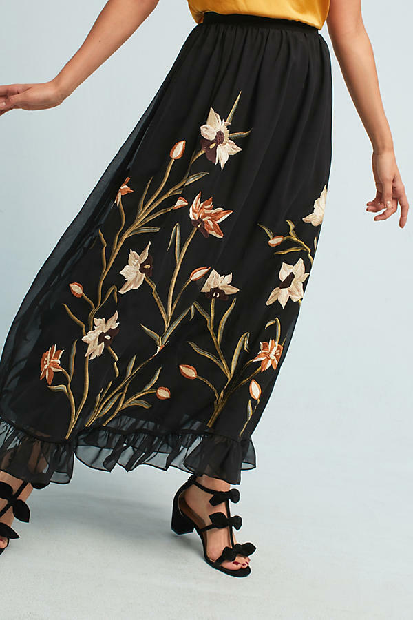 ANTHROPOLOGIE Varun Bahl Flounced Floral Embroidered Maxi Skirt NwT 2 8 12