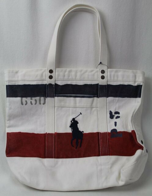 Polo Ralph Lauren White Red Blue Patriotic Pony Zippered Tote Bag Nwt