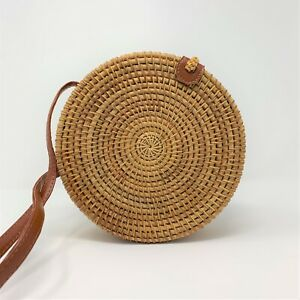 Lady Hand Woven Round Rattan Straw Bag Bali Boho Crossbody Handbag Shoulder Bags