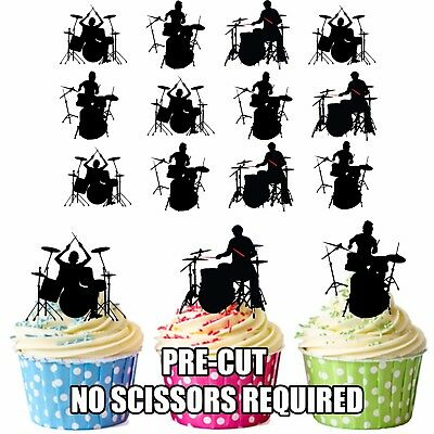 PRECUT Drums Drummer Silhouettes 12 Edible Cupcake Toppers Birthday Decorations