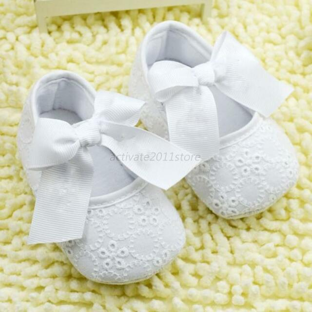 Infant Toddler Kids Girl Floral Soft Soled Crib Shoes W/ Bowknot Ribbon 0-18M