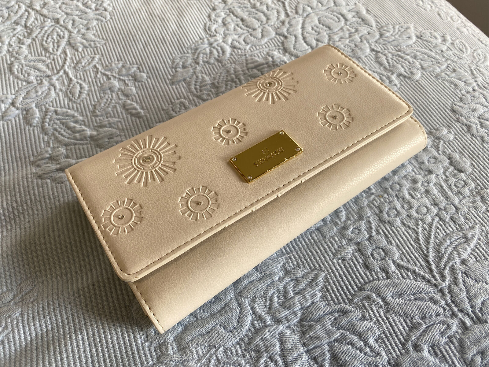 Swarovski Travel Wallet - New in box - Buff Leather, Crystals, Imprinted Design