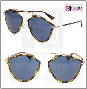 cb2367a173 CHRISTIAN DIOR SO REAL Rise Havana Gold Blue Aviator Sunglasses ...