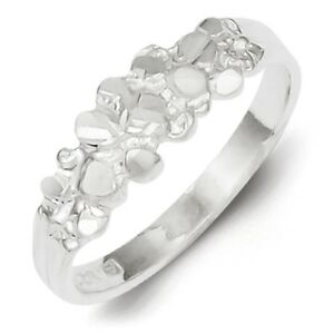 925-Sterling-Silver-Polished-amp-Diamond-cut-Nugget-Ring-Size-6-8