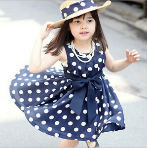 New Little Girl Dress Children Kids Clothing Girls Polka Dot Dress ...