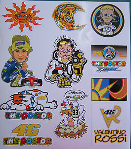 The Doctor Valentino Rossi 46 Aufkleber Blatt 150 Mikrons dick Yamaha Stickers