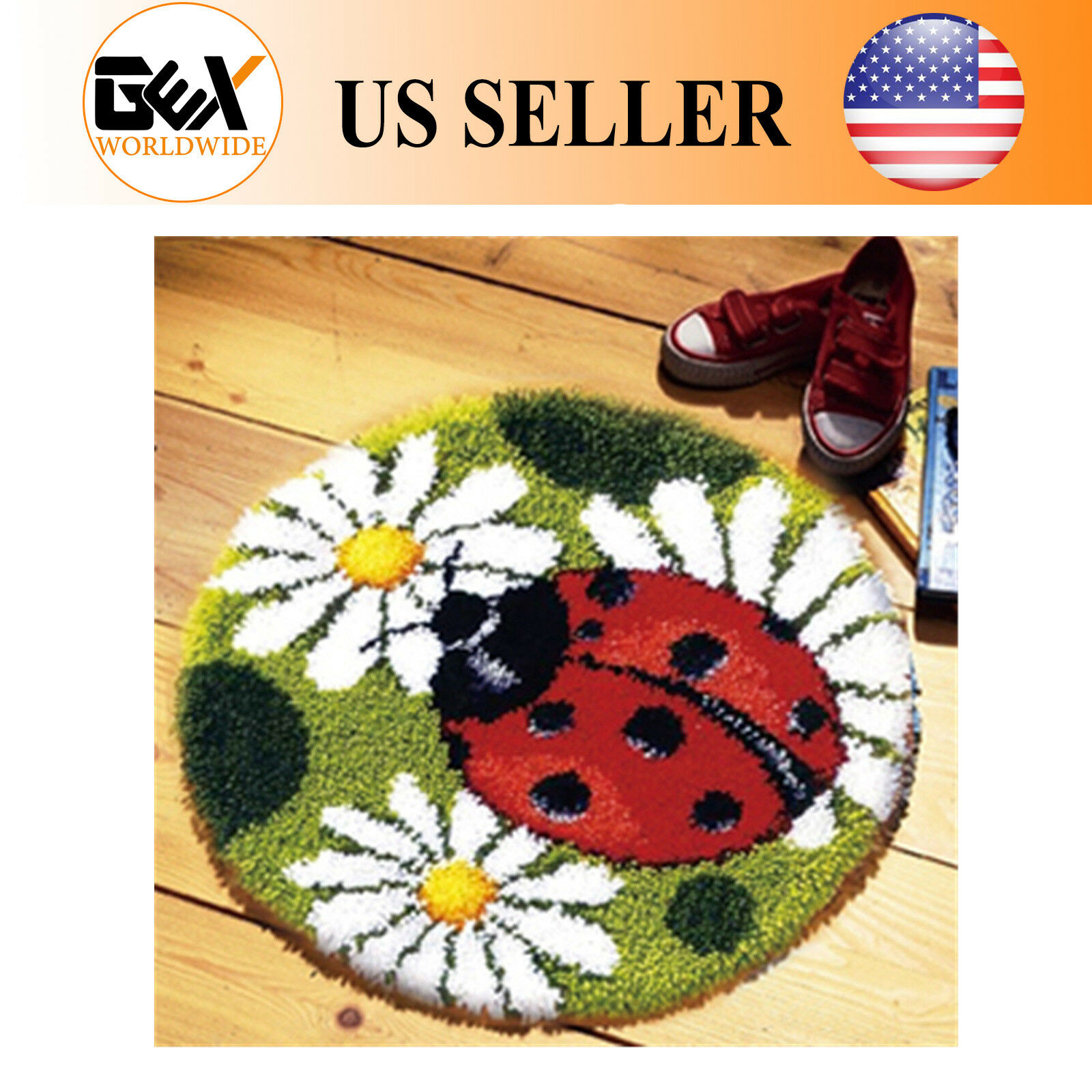 Details About Gex 20 Latch Hook Kit Rug Circular Ladybug Craft Embroidery Christmas Gift
