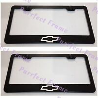 2x Chevrolet Chevy Bow Tie Black Stainless Steel License Plate Frame W/cap