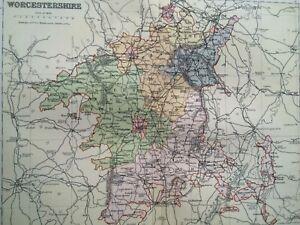Map Of England Vintage.1895 Worcestershire Original Antique Map Uk England Vintage Old