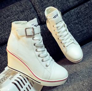 Damen Sneakers Schnurschuhe Chucks Knöchelschuhe Keilabsatz Wedge High Heels