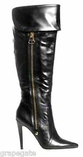 STEVE MADDEN *SMOKIN'* BLACK LEATHER OVER-THE-KNEE DOUBLE-ZIP STILETTO BOOTS,7.5