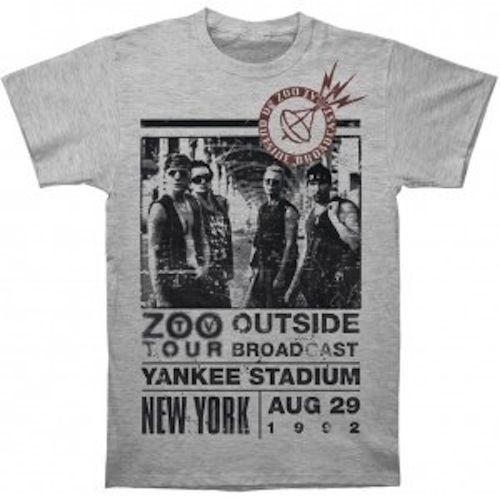 Zoo 1992 Outside Tour U2 Official Men/'s Grey T-Shirt US IMPORT