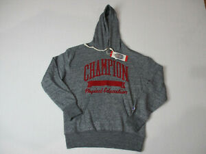 4b7d48c49338 NEW Champion Hoodie Sweater Adult Medium Gray Red Hooded Spell Out ...