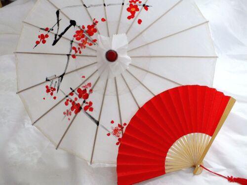 Giapponese S bianco parasole Rosso Carta VENTAGLIO Matrimonio Festa Ombrello Ragazza Cinese