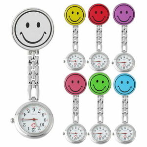 Nurse-Smiley-Face-Brooch-Fob-Watch-Clip-Watch-Medical-Pocket-Quartz-Clasp-Watch