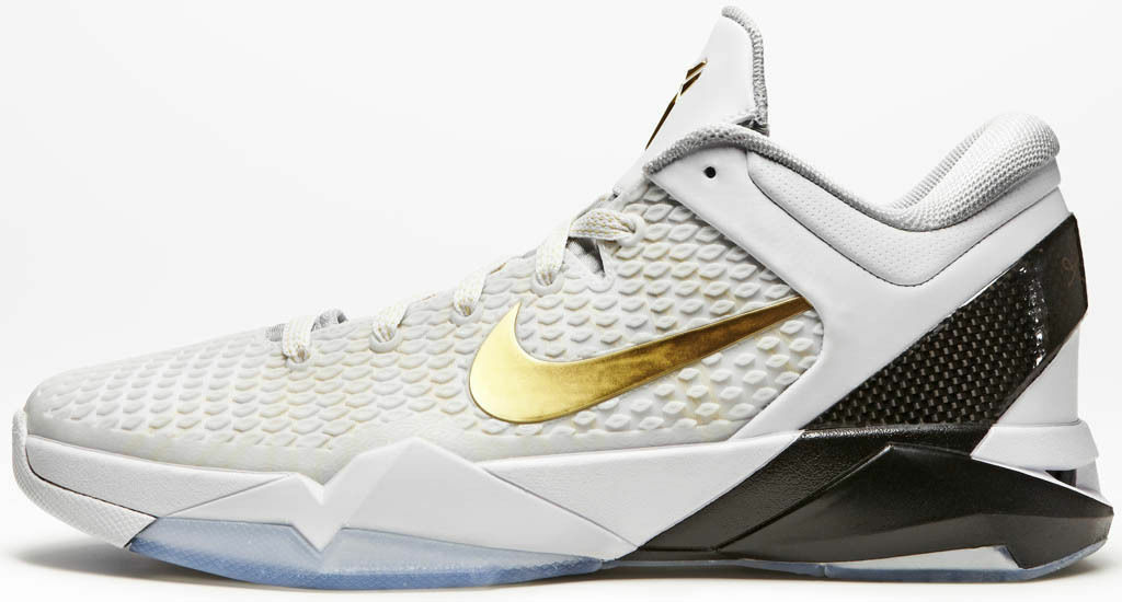 Nike Zoom Kobe VII System negro Elite Home blanco oro negro System gris 511371-hombres SZ: 10 e9c235