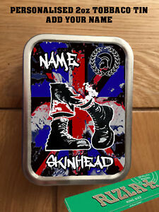 Details about PERSONALISED SKINHEAD SKA OI SOUL RUDE BOY TOBACCO TIN 2oz  GIFT ROLLING BACCY