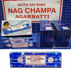 INCENSI-Satya-Baba-NAG-CHAMPA-Bastoncini-di-incenso-12-scatole-x-15gr