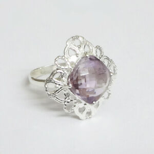 Natural-Amethyst-Solid-925-Sterling-Silver-Ring-Jewelry-Size-8