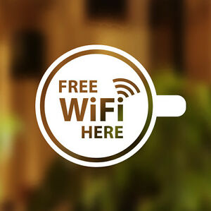Free WIFI Here Cup Window Sign Vinyl Sticker Graphics Cafe Shop Salon Bar Pub