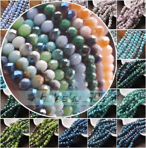 Half-Color-Rondelle-Faceted-Czech-Glass-Loose-Spacer-Beads-3mm-4mm-6mm-8mm