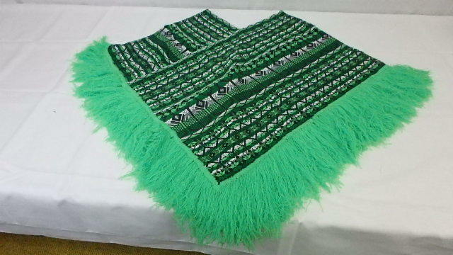 Vintage Hand Woven Sombol Guatemalan Fringe Cotton Poncho Overblouse 1970's