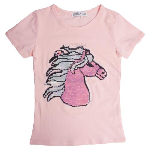 Kids Emoji Unicorno T-Shirt Tee Top con Lustrini età 3-12 Y