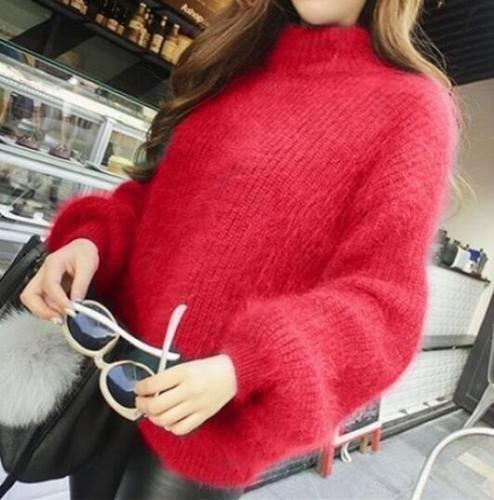Winter Womens Ladies mohair Loose Sweater puff sleeve Coat Fluffy Jumper Solid
