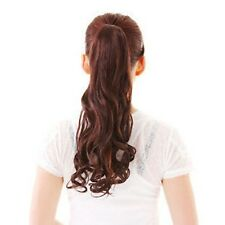 Clip On Dark Brown Wavy Pony Tail Hair Extensions 2+33