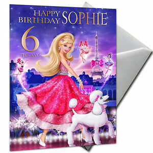 barbie princess  personalised birthday card large a girls, Birthday card