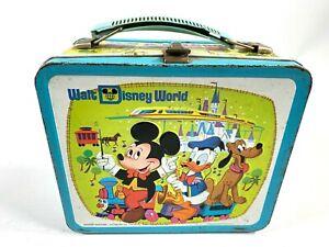 1976-WALT-DISNEY-WORLD-Aladdin-Industries-METAL-LUNCHBOX-no-bottle-MICKEY-MOUSE