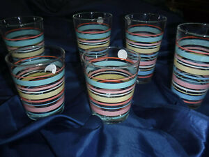 SET-OF-6-FIESTAWARE-Homer-Laughlin-14-oz-Drinking-Glasses-Fiesta-Stripes-2