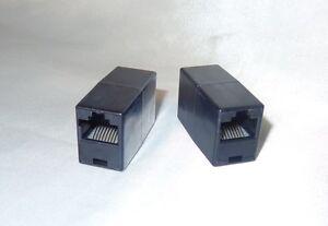 2x-Kupplung-RJ45-LAN-DSL-ISDN-Netzwerk-Verbindung-8P8C-1-1-Buchse-Buchse-Schwarz
