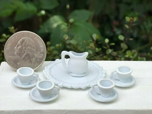 Miniature Dollhouse FAIRY GARDEN Accessories ~ White Serving Set Pitcher /& Cups
