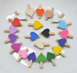 30mm Small Wooden Craft Pegs Wedding WHITE PEGS WITH DARK YELLOW HEARTS