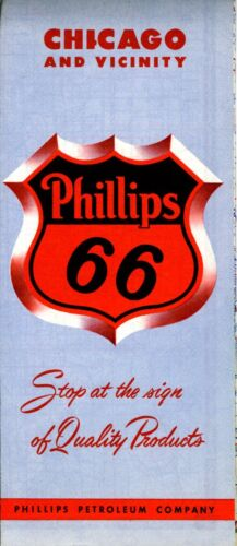 1955 Phillips 66 Road Map Chicago NOS