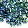 G2625L Clear w Blue & Green Swirls 12mm Round Blown Lampwork Glass Beads 10/pkg