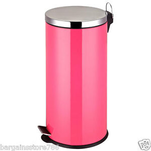 30 Litre Hot Pink Stailess Steel Waste Bin Pedal Rubbish Recycle ...
