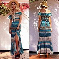Women Summer Off Shoulder Boho Long Maxi Dress Floral Sundress Tops + Skirt
