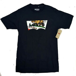 Levi-039-s-California-Bear-Flag-Logo-T-Shirt-BLACK-100-Cotton-Men-039-s-Size-XS-X-Small