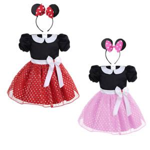 Girls Baby Kids Polka Dots Tutu Skirt+Headband Set Halloween Cosplay Party Dress