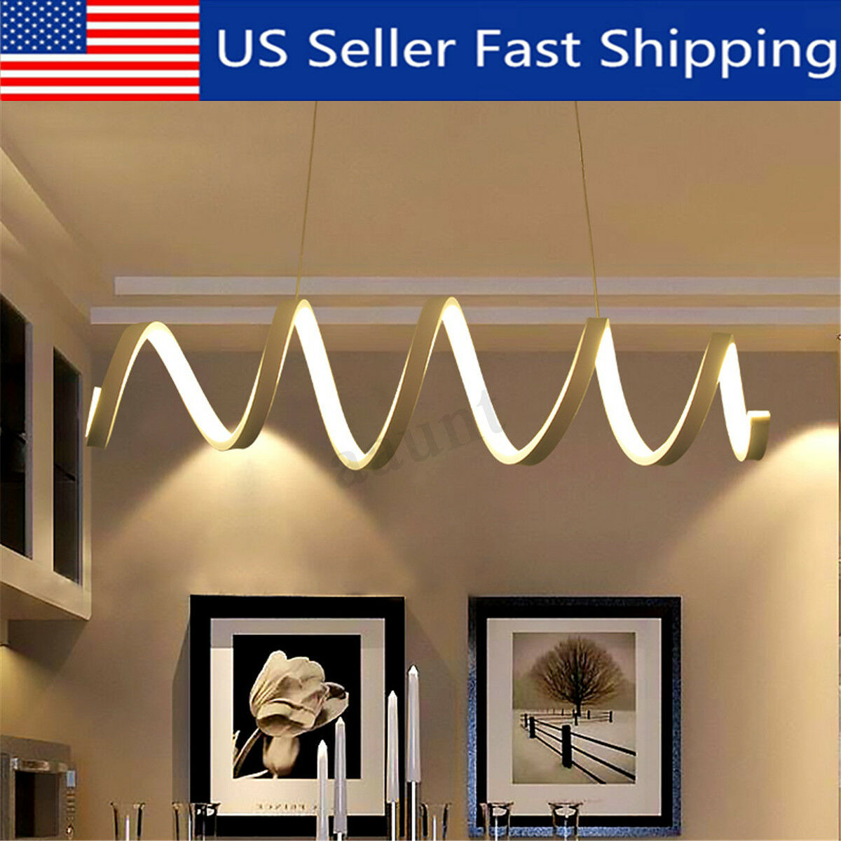 Modern Acrylic Led Chandelier Wave Spiral Pendant Fixture Lights Ceiling For Sale Online Ebay