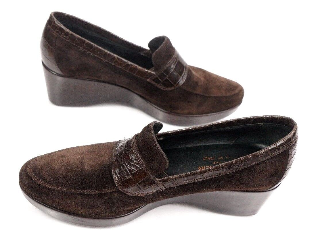 DONALD J PLINER SEMA Women's Croc-Print Leather   Suede Wedge Loafers 8 M