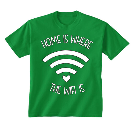 Kids Childrens Home Is Where The Wifi Is Funny Slogan T-shirt 5-13 Years